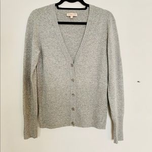 Tory Burch Cashmere Jeweled Logo Button Cardigan